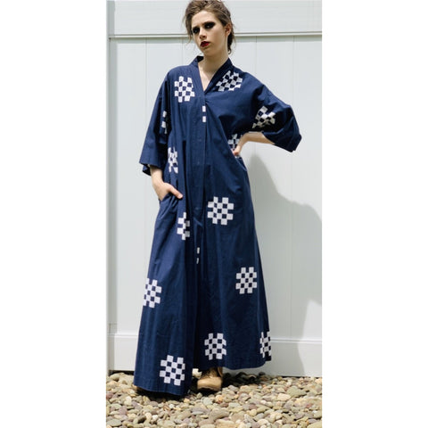 "VTG Marimekko ""Pivo"" by Katsuji Wakisaka 1975 Blue White Cotton Dress Coat M"