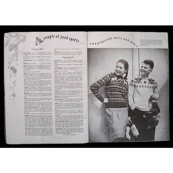 Bear Brand Hand Knits Pattern Book For Children Vol 331 1946 Reindeer Sweater - The Best Vintage Clothing  - 3