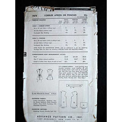 Vintage Advance Cobbler Bib Apron Pattern #7878 1950'S - The Best Vintage Clothing  - 2