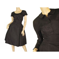 Vintage Black Silk Faille Cocktail Dress W/Jacket  Branell 1950'S 34-26-Free - The Best Vintage Clothing  - 3