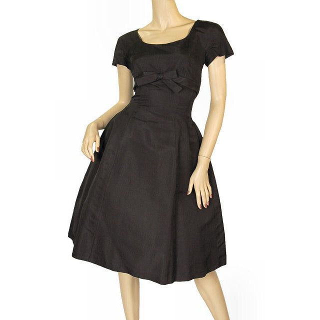 Vintage Black Silk Faille Cocktail Dress W/Jacket  Branell 1950'S 34-26-Free - The Best Vintage Clothing  - 1