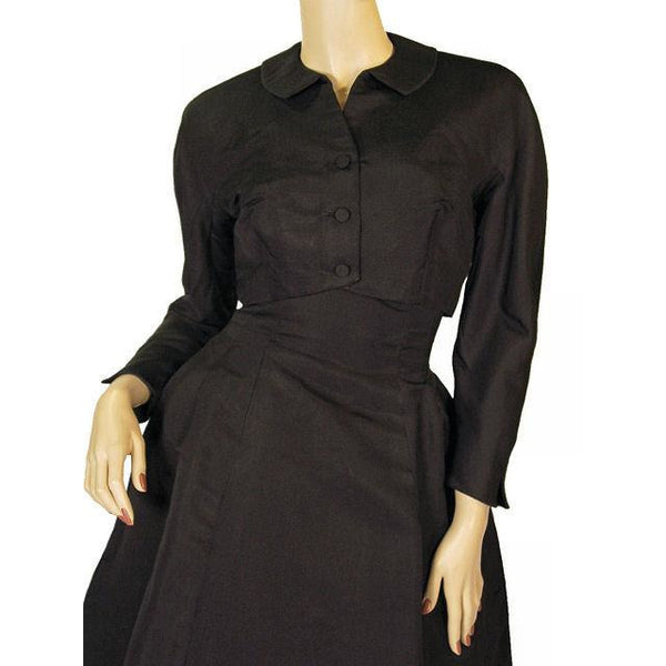 Vintage Black Silk Faille Cocktail Dress W/Jacket  Branell 1950'S 34-26-Free - The Best Vintage Clothing  - 5