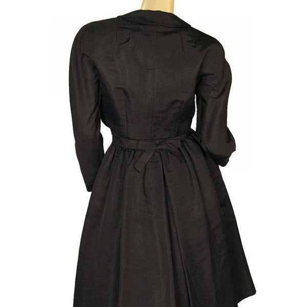 Vintage Black Silk Faille Cocktail Dress W/Jacket  Branell 1950'S 34-26-Free - The Best Vintage Clothing  - 4