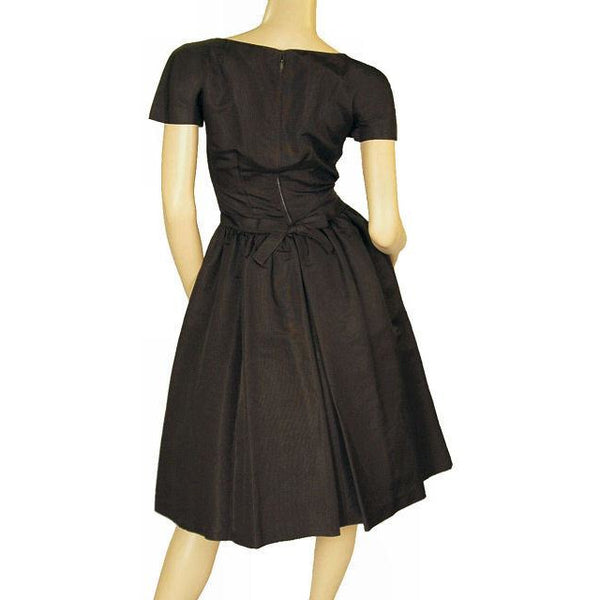 Vintage Black Silk Faille Cocktail Dress W/Jacket  Branell 1950'S 34-26-Free - The Best Vintage Clothing  - 2