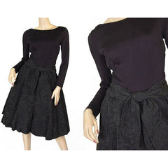 Vintage Black Jersey Dress W/Textured Brocade Skirt Nan Wynn 1950s 36-24-Free - The Best Vintage Clothing  - 4
