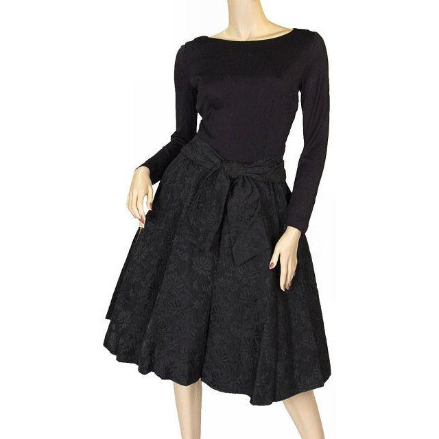 Vintage Black Jersey Dress W/Textured Brocade Skirt Nan Wynn 1950s 36-24-Free - The Best Vintage Clothing  - 1