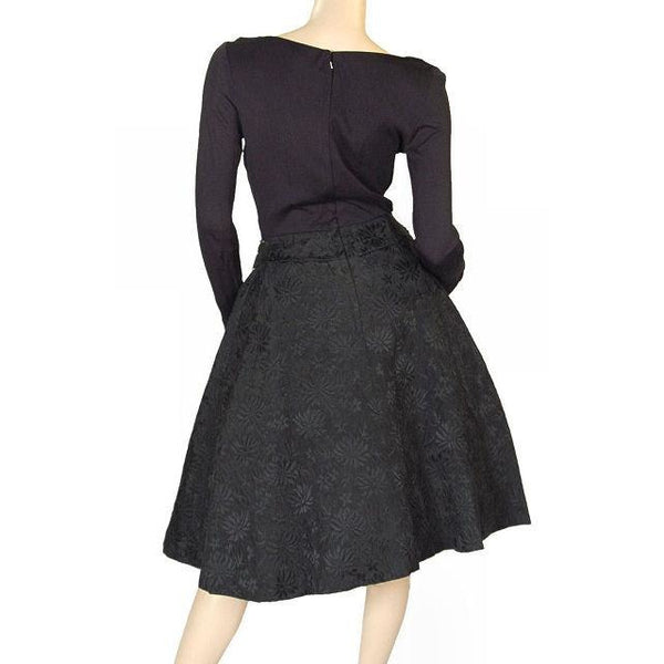 Vintage Black Jersey Dress W/Textured Brocade Skirt Nan Wynn 1950s 36-24-Free - The Best Vintage Clothing  - 3