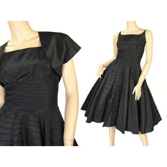 Vintage Black Taffeta Concentric Circle Skirt Dress W/Bolero 1950s 34-28-Free - The Best Vintage Clothing  - 3