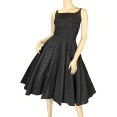 Vintage Black Taffeta Concentric Circle Skirt Dress W/Bolero 1950s 34-28-Free - The Best Vintage Clothing  - 1
