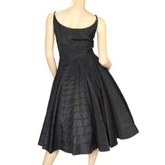 Vintage Black Taffeta Concentric Circle Skirt Dress W/Bolero 1950s 34-28-Free - The Best Vintage Clothing  - 2