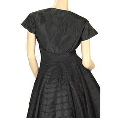 Vintage Black Taffeta Concentric Circle Skirt Dress W/Bolero 1950s 34-28-Free - The Best Vintage Clothing  - 4