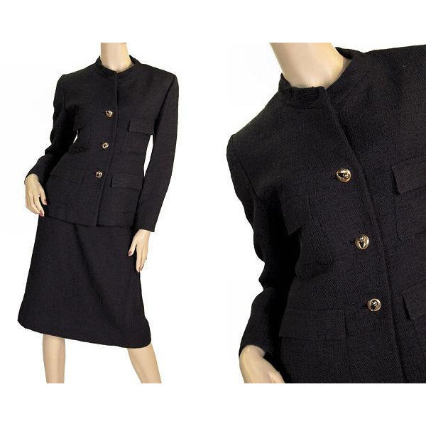 Vintage  Black Textured Wool Ladies Suit Lord & Taylor Davidow 1980s - The Best Vintage Clothing  - 1
