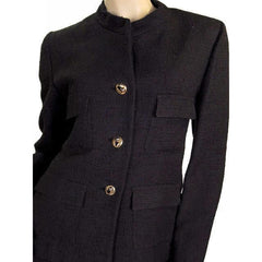 Vintage  Black Textured Wool Ladies Suit Lord & Taylor Davidow 1980s - The Best Vintage Clothing  - 6