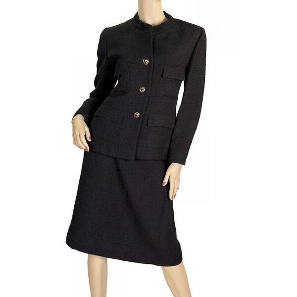 Vintage  Black Textured Wool Ladies Suit Lord & Taylor Davidow 1980s - The Best Vintage Clothing  - 3