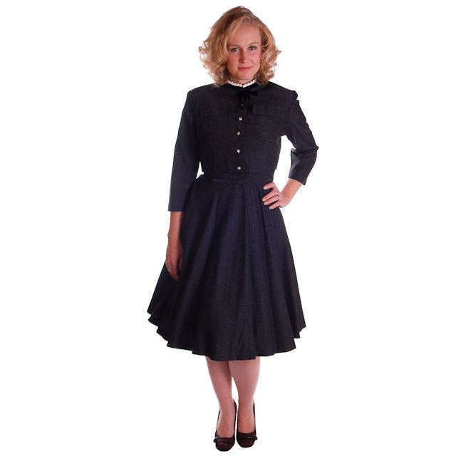 Charcoal Vintage Day Dress With Jacket Rhinestone Buttons 1950 36-29-Free - The Best Vintage Clothing  - 1