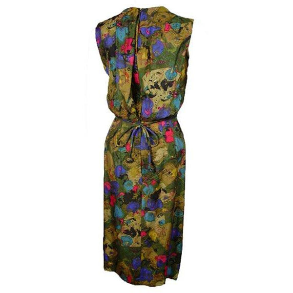 Vintage Watercolor Silk Dress Mardi Gras 1950S Rhinestones 38-24-36 - The Best Vintage Clothing  - 2