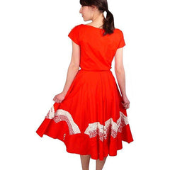 Vintage Dress Red Rockabilly Circle Skirt  Outfit Fans Detail 1950S 34-24-Free - The Best Vintage Clothing  - 2