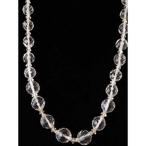 "Vintage Estate Jewelry Necklace Rock Crystal Beads 14K 36"" 1920 - The Best Vintage Clothing  - 1"