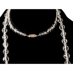 "Vintage Estate Jewelry Necklace Rock Crystal Beads 14K 36"" 1920 - The Best Vintage Clothing  - 3"