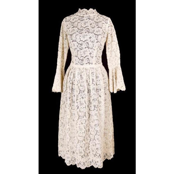 Exceptional Vintage Ivory Venetian Point Lace  Gown Provenance 36-28-Free - The Best Vintage Clothing  - 3