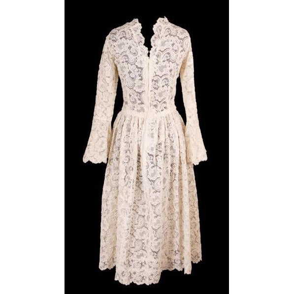 Exceptional Vintage Ivory Venetian Point Lace  Gown Provenance 36-28-Free - The Best Vintage Clothing  - 4