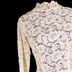Exceptional Vintage Ivory Venetian Point Lace  Gown Provenance 36-28-Free - The Best Vintage Clothing  - 5