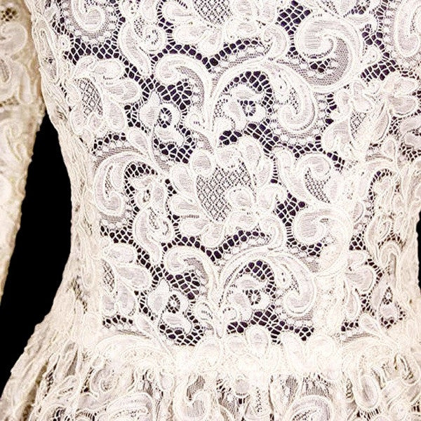Exceptional Vintage Ivory Venetian Point Lace  Gown Provenance 36-28-Free - The Best Vintage Clothing  - 1