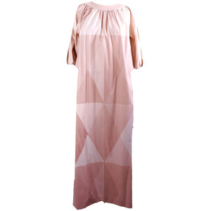 Rare Marimekko Pink Flesh Tones Geometric  Print Maxi Dress 1970s Womens S