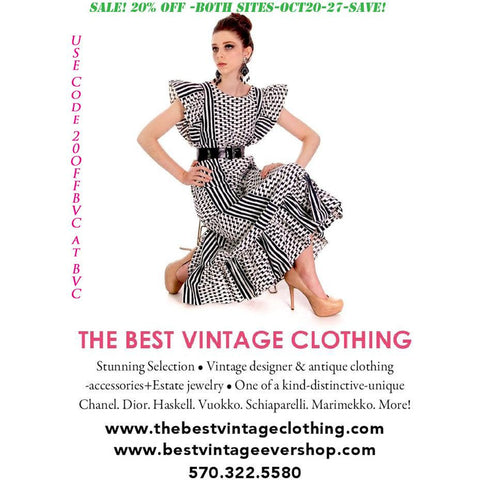Sale At The Best Vintage Clothing-October 20-27th 20% Off