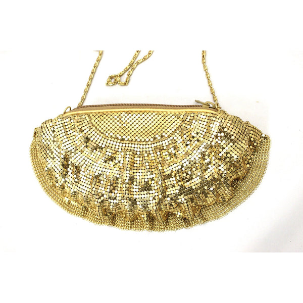 Vintage 1980s Braciano Gold Mesh Bag Clutch/ Shoulder Bag 1980s