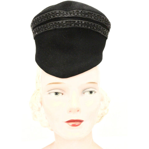 Vintage Womens Hat Military Style 1930s Black Velour Beaded  New York Creation The Heinz Store
