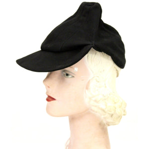 "Vintage Black Leather Suede Cap Womens Hat 1930s Military 23"" WW2"