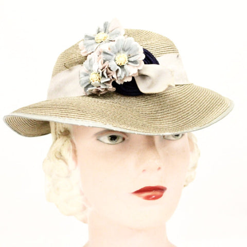 Womens Vintage Hat 1930s Beige Straw Pink Blue  Flowers Fascinator Dusty Colors Church Guernsey
