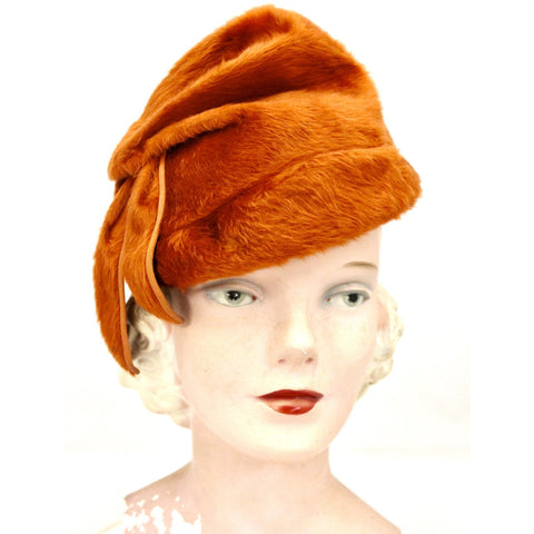 Vintage Norman Durand Original Burnt Orange Felt Fur Hat 1940s Church Theater