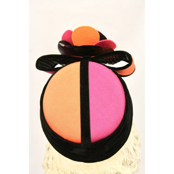 Vintage Whittall & Shon Color Block Pillbox Hat Orange Magenta O/S Church