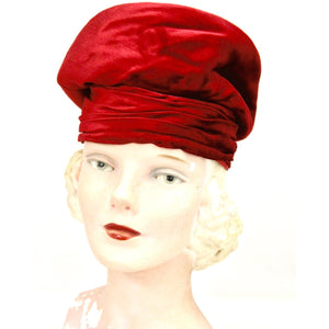 "Red Velvet Vintage Turban Hat 1940s 22"" Small Head"