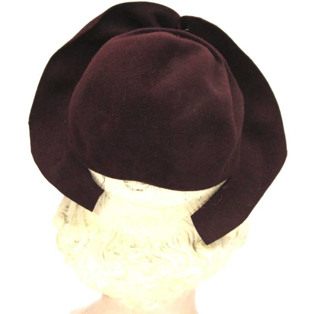 74024347b2481 ... Vintage 1930s Semi-Cloche Hat Maroon Red Huge Clear Lucite Hatpin O S  ...