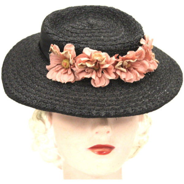 Vintage 1940s Womens Hat Sailor Brimmed Hat Black Horsehair Straw Pink Flowers