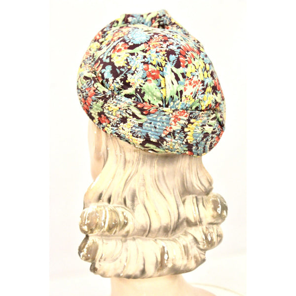"Vintage 1930s Womens Hat  Turban Rayon Dress Print Small Hat 20 1/2"" Head Size"