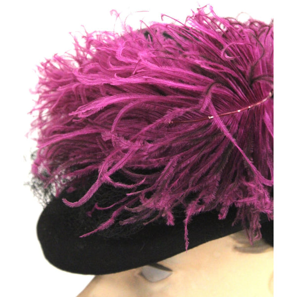 Vintage Womens 1930s Hat Fascinator Bonnet Hat Black Magenta Feather O/S Doll Hat New York Creation