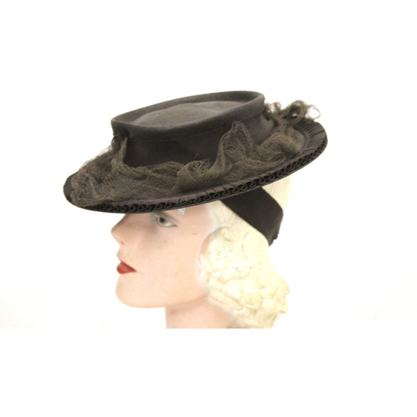 Vintage Brown Brimmed Sailor Fascinator Hat Fine Straw 1940s Gimbles Guernsey Pie