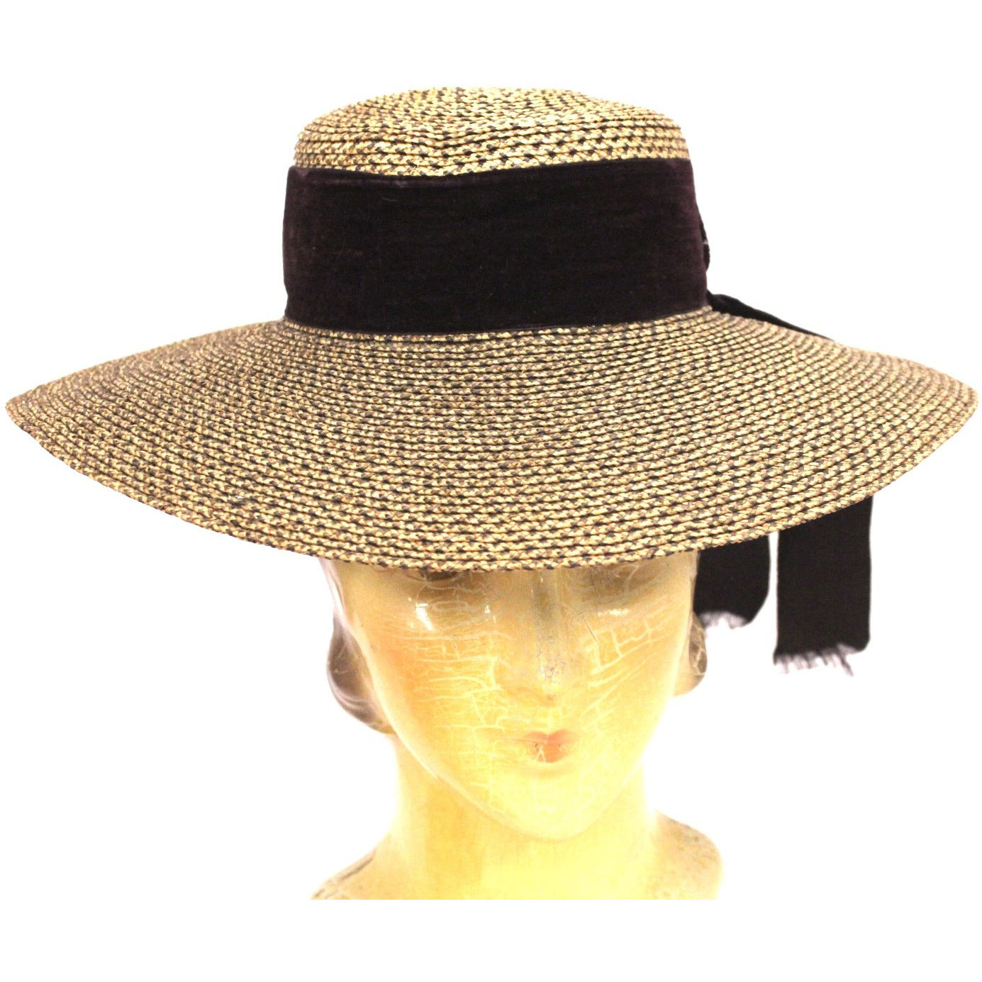Antique Edwardian Wide Brimmed  Ladies Hat 2 Tone Bronze Straw 6 1/4 Small Head