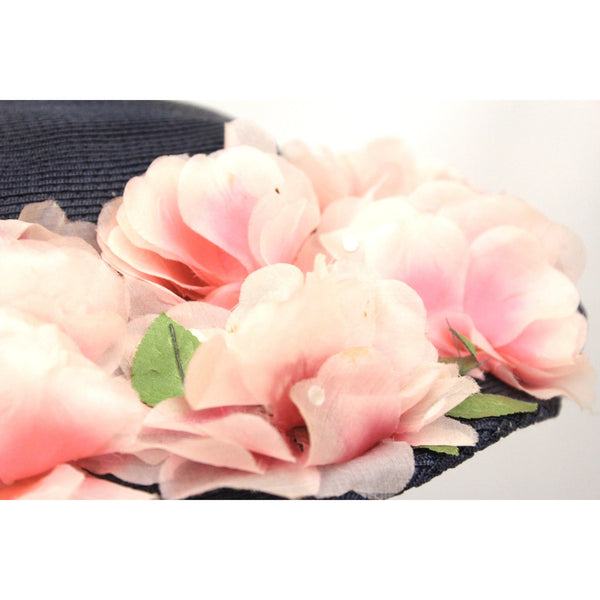 Lovely Vintage 1940s Womens Wide Brimmed Church Hat Lots of Pink Flowers Navy Blue Straw