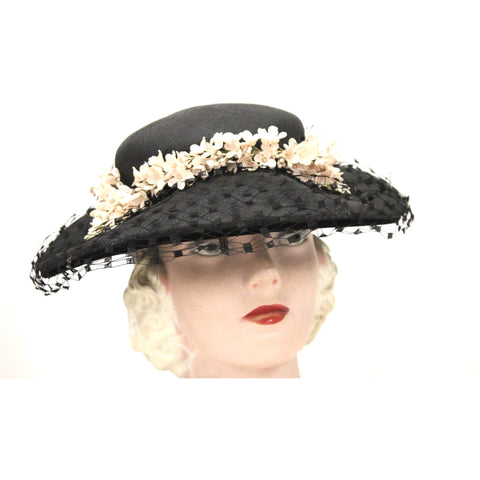 Vintage Wide Brim Black Straw Hat 1950s Church Saucer Hat Pink Flowers Veil Maisel