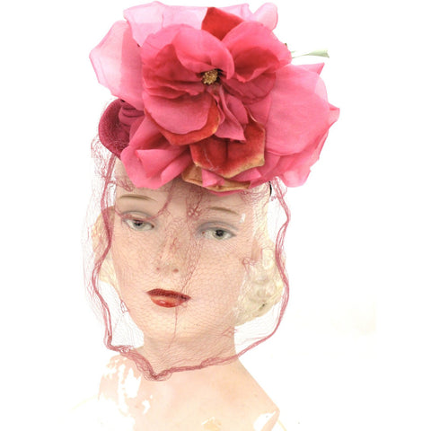 Vintage Fascinator Veiled Doll Hat Hot Pink Huge Flowers 1940s O/S Church WW2
