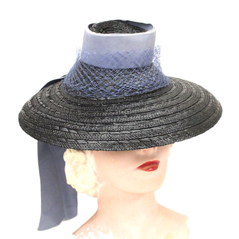 Vintage Brimmed Fascinator Hat Tri-Color Cone 1940s WW2 Navy Blue bebbf222a57b