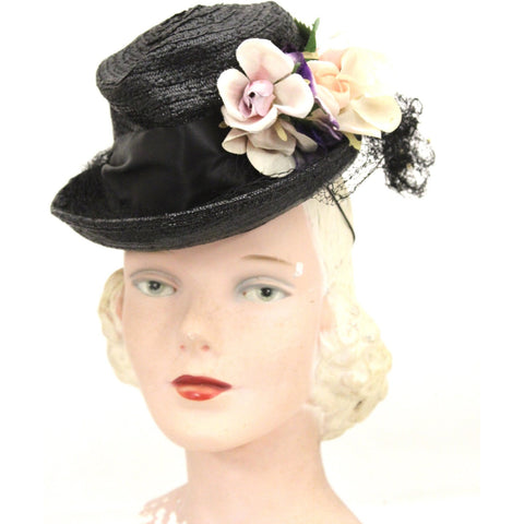 Vintage Fascinator Hat Black Straw & Flowers 1940s ww2 O/S Womens Church