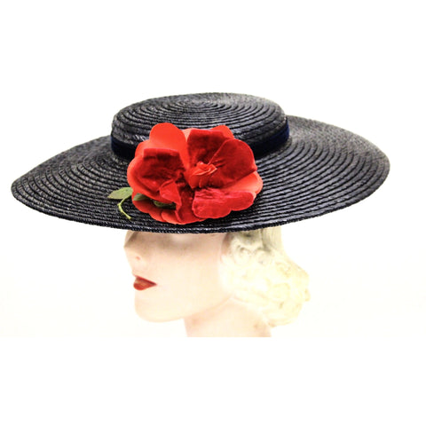 Vintage Wide Brim Dark Navy Blue Straw Hat 1940s Church Saucer Hat Red Rose O/S