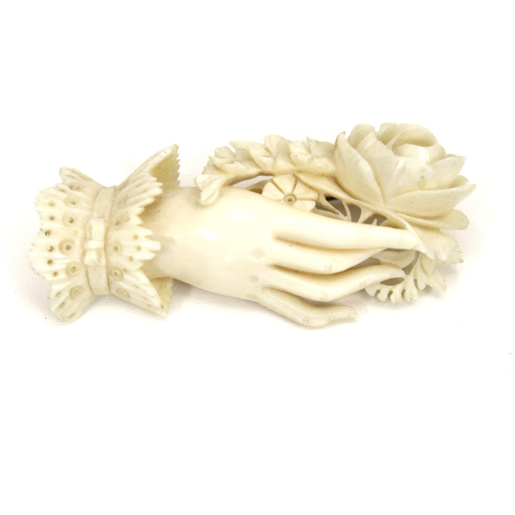 Rare Antique Ivory Brooch Woman S Hand Holding Flowers Hand Carved 2 1 The Best Vintage Clothing
