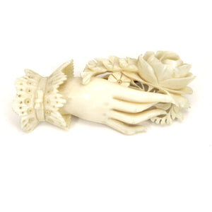 "Rare Antique Ivory Brooch Woman's Hand Holding Flowers Hand Carved  2 1/2"" Ultra-Victorian Large"